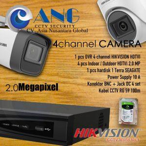 4 CH HIKVISION HDTVI 2.0MP CCTV